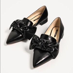 Zara bow flats